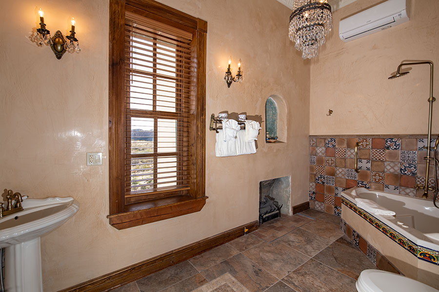 Wide view of bathroom.